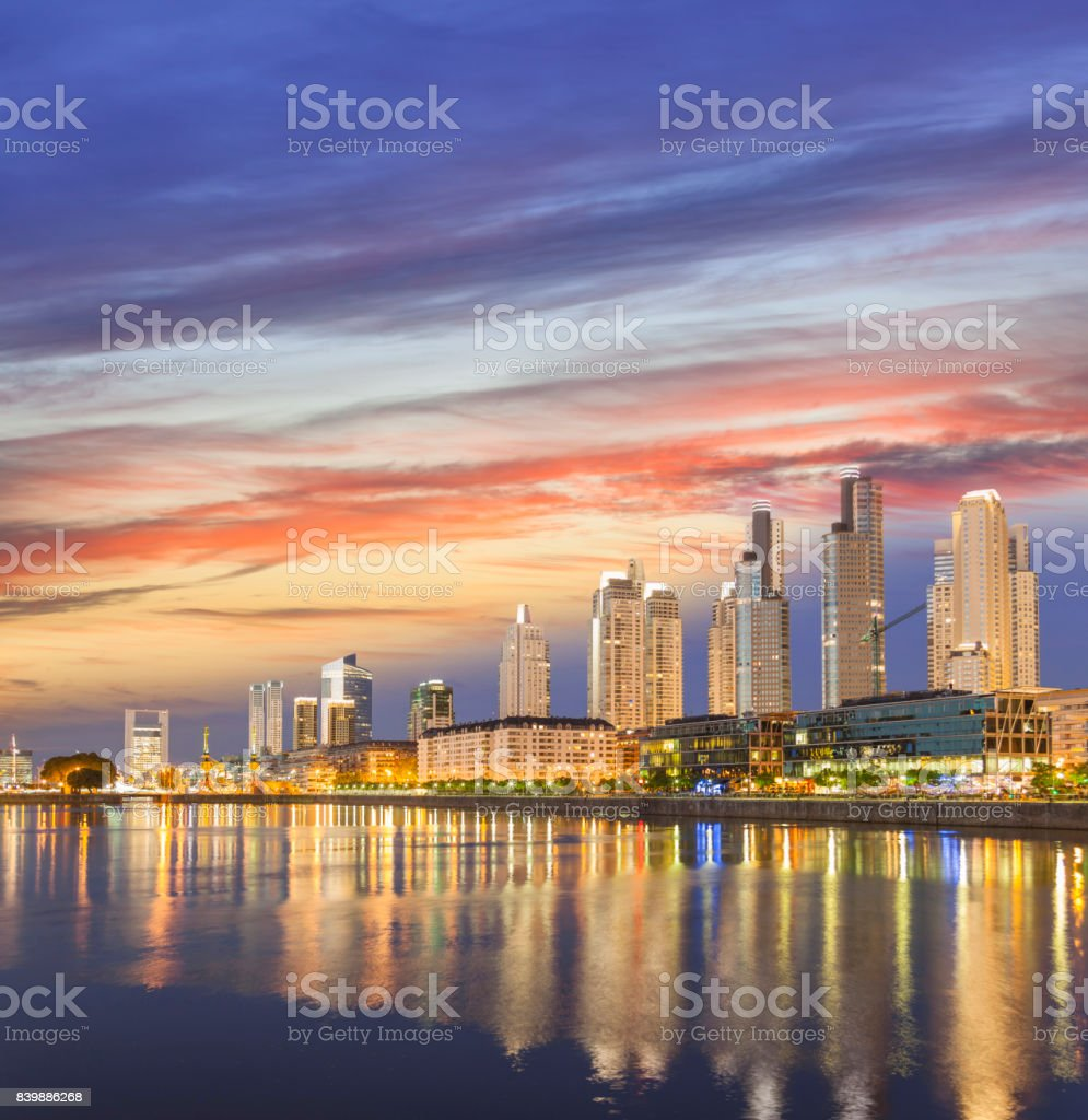 Argentina Buenos Aires skyline Puerto Madero at dawn stock photo