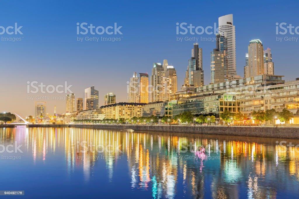 Argentina Buenos Aires skyline Puerto Madero at night stock photo