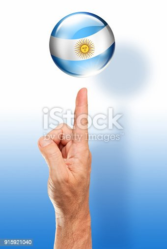 istock Argentina button flag pointing with human hand 915921040