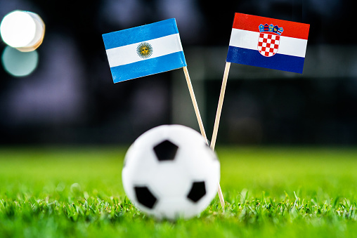 Argentina - Croatia, Group D, Thursday, 21. June, Football, World Cup, Russia 2018, National Flags on green grass, white football ball on ground.