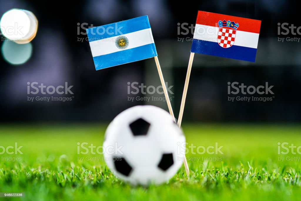 Argentina - Croatia, Group D, Thursday, 21. June, Football, World Cup, Russia 2018, National Flags on green grass, white football ball on ground. - foto stock