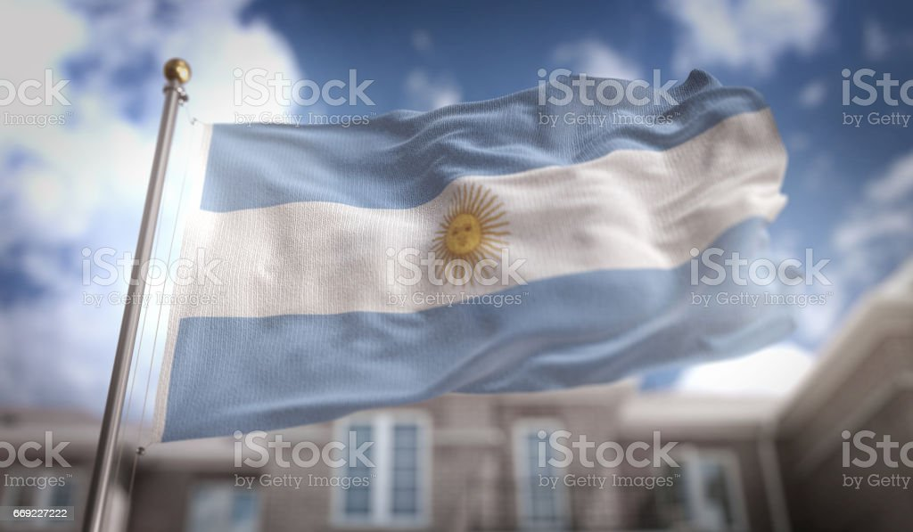 Argentina Flag 3D Rendering on Blue Sky Building Background stock photo
