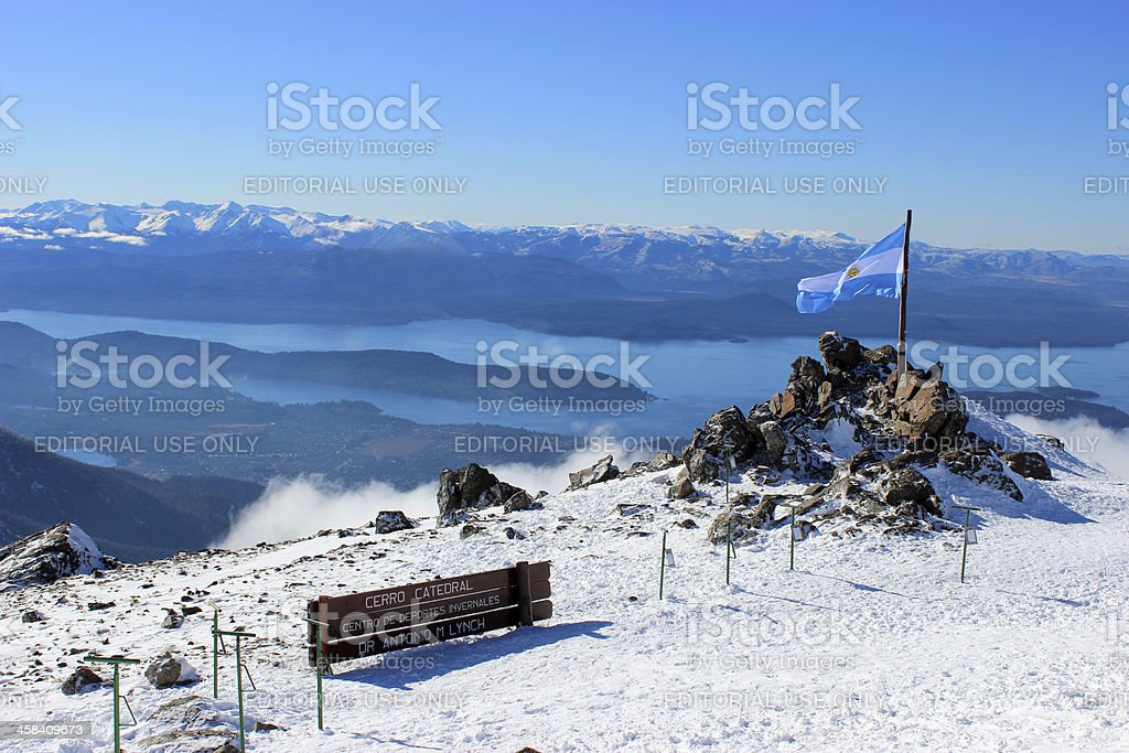 Argentina Flag and Gutierrez lake at Andes - Patagonia 2 stock photo