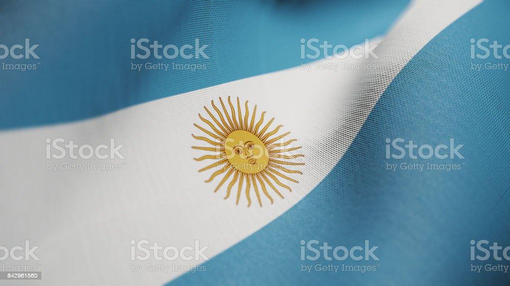 Argentina Flag, Argentinian Flag Realistic 3D Illustration stock photo