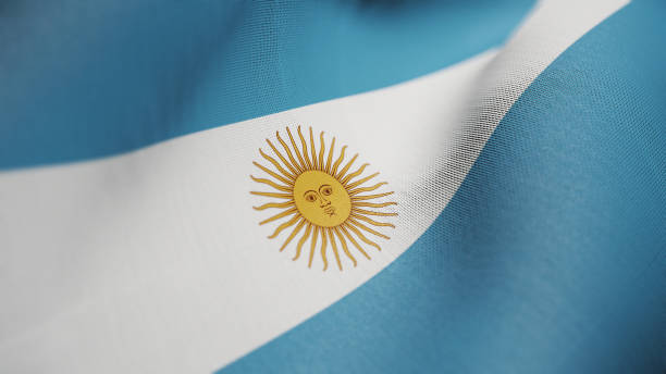 Argentina Flag, Argentinian Flag Realistic 3D Illustration stock photo