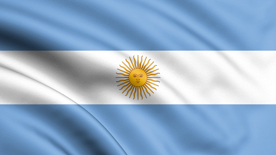 istock Argentina flag blowing in the wind. Background texture. 3d rendering, waving flag. – Illustration. Buenos Aires. 1131392397