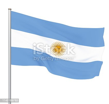 istock Argentina flag blowing in the wind. Background texture. 3d rendering, waving flag. – Illustration. Buenos Aires. 1145189783