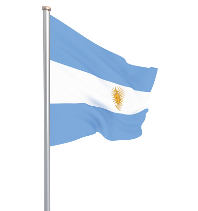 istock Argentina flag blowing in the wind. Background texture. 3d rendering, waving flag. – Illustration. Buenos Aires. 1147132158