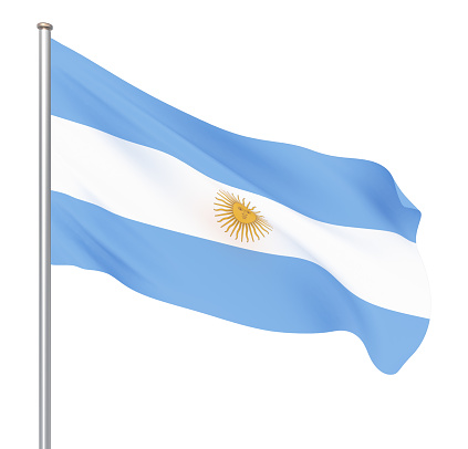 istock Argentina flag blowing in the wind. Background texture. 3d rendering, waving flag. – Illustration. Buenos Aires. 1149105909