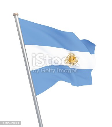 istock Argentina flag blowing in the wind. Background texture. 3d rendering, waving flag. – Illustration. Buenos Aires. 1155255390