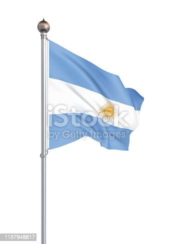 istock Argentina flag blowing in the wind. Background texture. 3d rendering, waving flag. – Illustration. Buenos Aires. 1157948817