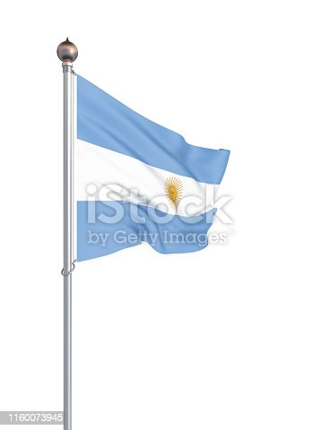 istock Argentina flag blowing in the wind. Background texture. 3d rendering, waving flag. – Illustration. Buenos Aires. 1160073945