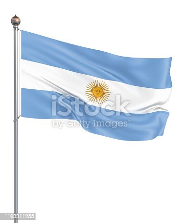 istock Argentina flag blowing in the wind. Background texture. 3d rendering, waving flag. – Illustration. Buenos Aires. 1163311255