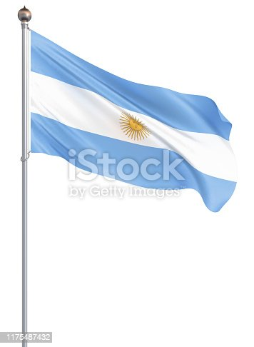 istock Argentina flag blowing in the wind. Background texture. 3d rendering, waving flag. – Illustration. Buenos Aires. 1175487432
