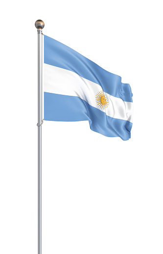 istock Argentina flag blowing in the wind. Background texture. 3d rendering, waving flag. – Illustration. Buenos Aires. 1220507849