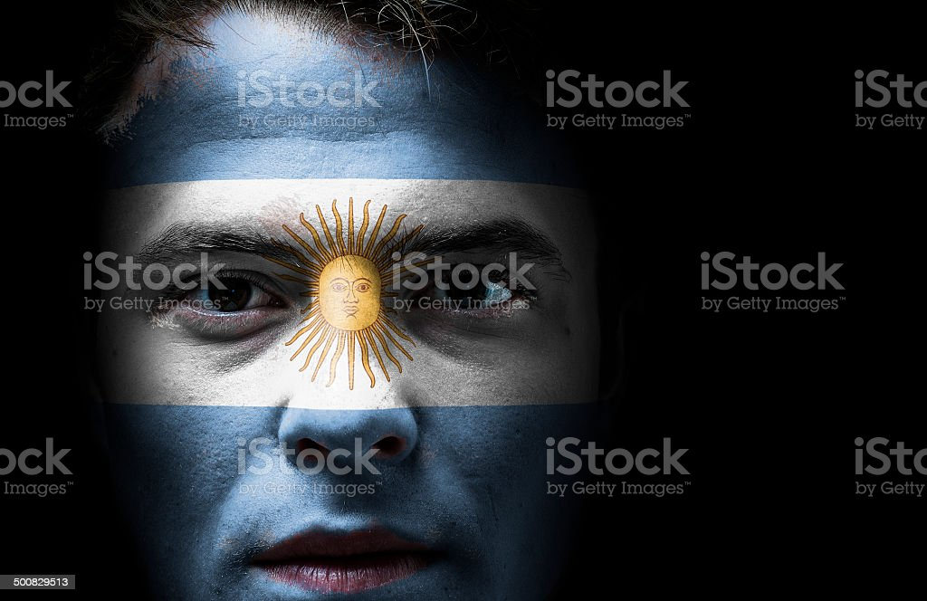 Argentina flag on face stock photo