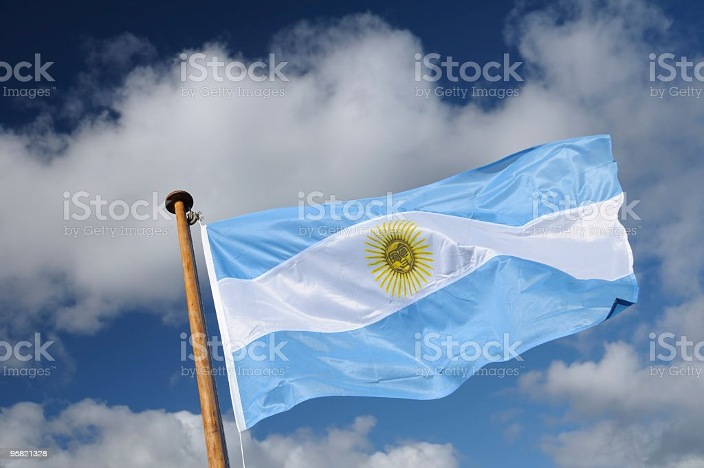 Argentina Flag On Patagonian Cloudscape, Bariloche, Patagonia, Argentina stock photo