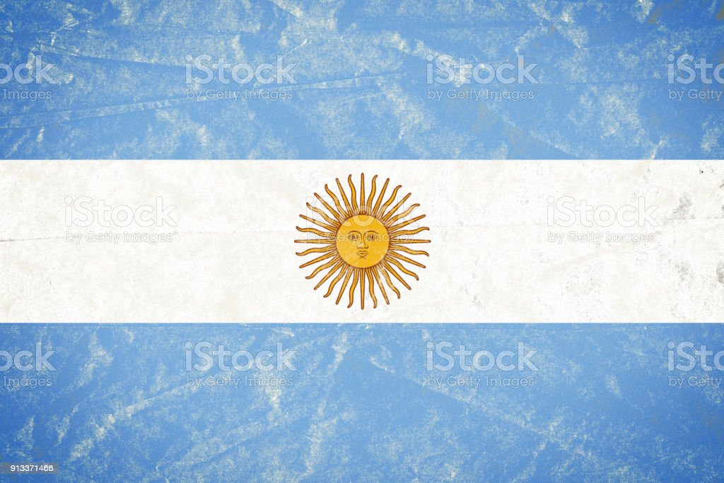 Argentina Flag on Wrinkled Crumbled Grunge Paper Poster stock photo