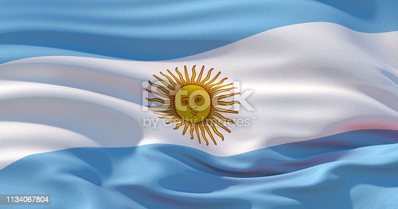 istock Argentina flag patriotic background, 3d illustration 1134067804