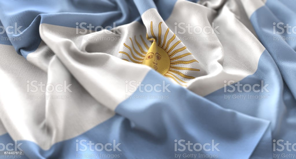 Argentina Flag Ruffled Beautifully Waving Macro Close-Up Shot - foto de acervo