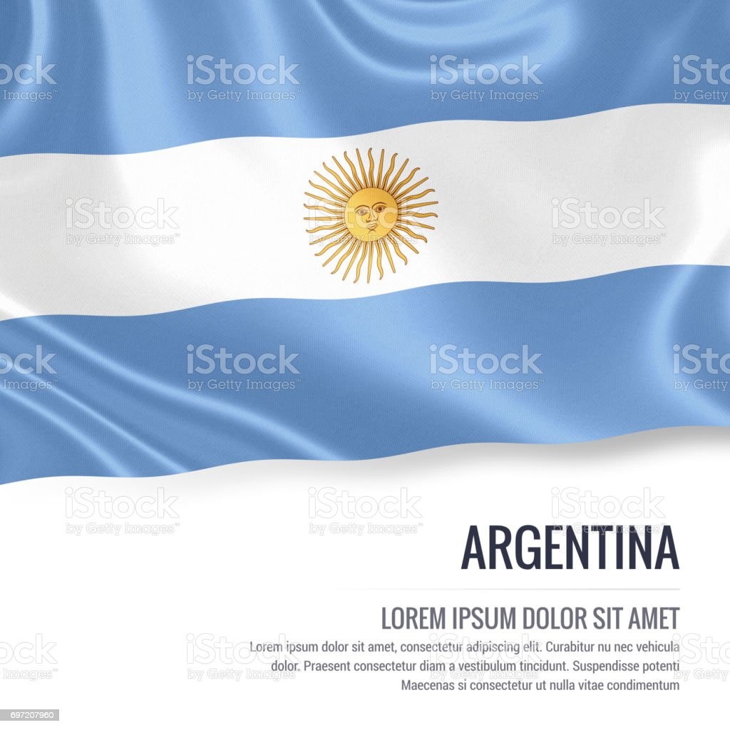Argentina flag. Silky flag of Argentina waving on an isolated white background with the white text area for your advert message. 3D rendering. stock photo