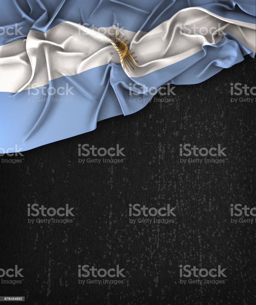 Argentina Flag Vintage on a Grunge Black Chalkboard With Space For Text stock photo