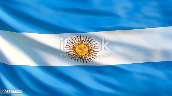 istock Argentina flag. Waving flag of Argentina 3d illustration. Buenos Aires 1088955000