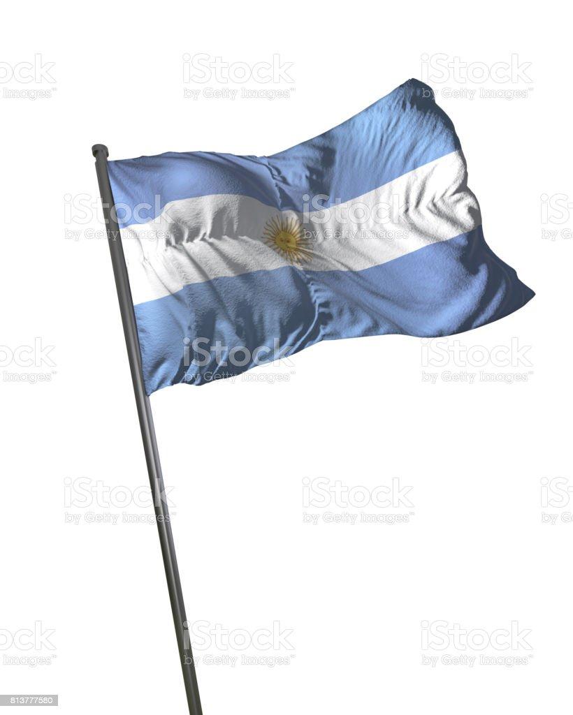 Argentina Flag Waving Isolated on White Background Portrait stock photo