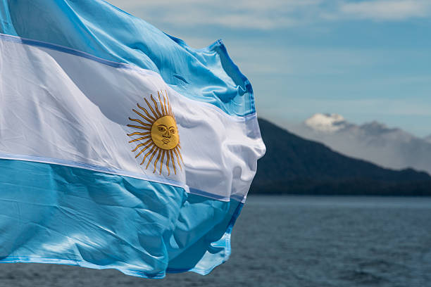 Argentina flag with mountains in background stock photo