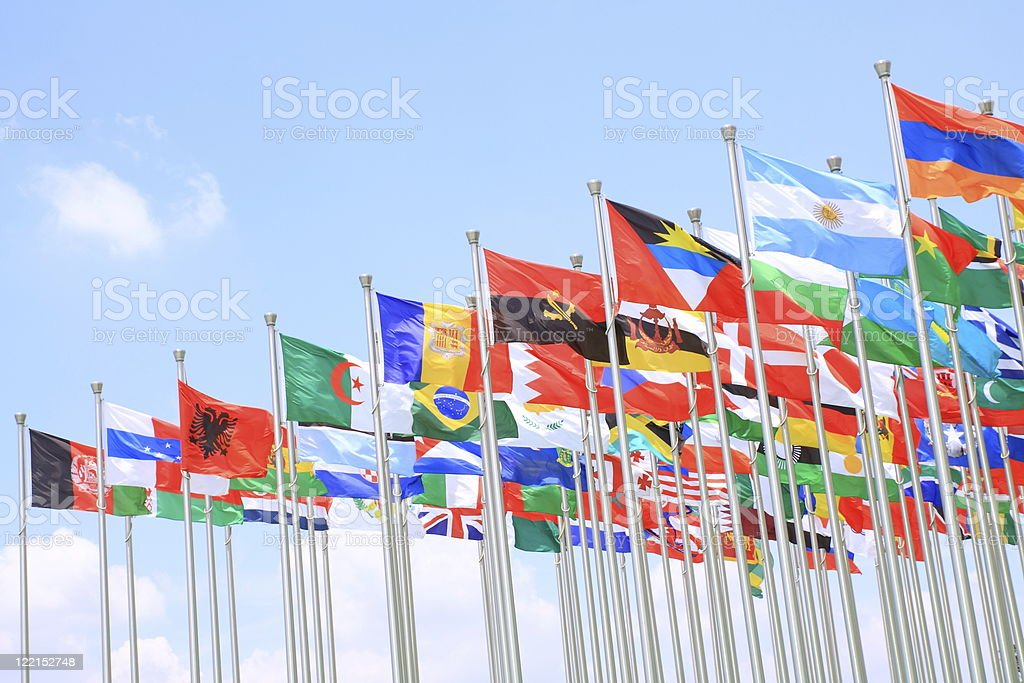 Argentina flags stock photo