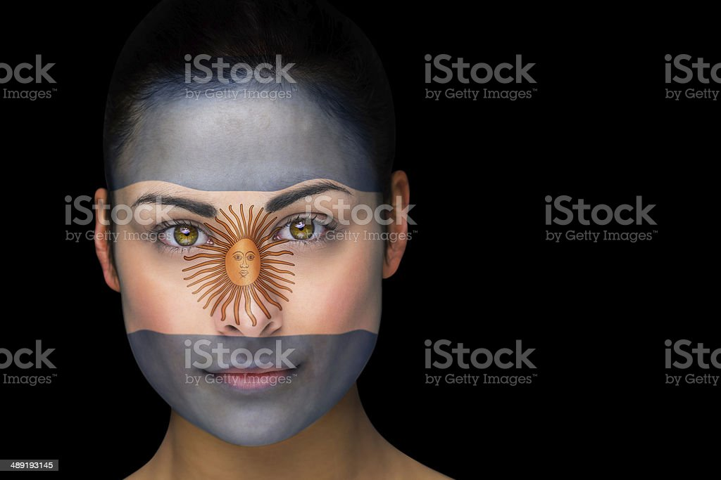 Argentina football fan in face paint stock photo