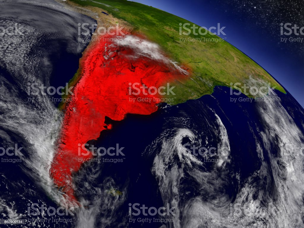 Argentina from space highlighted in red stock photo