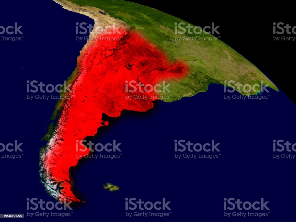 Argentina from space stock photo