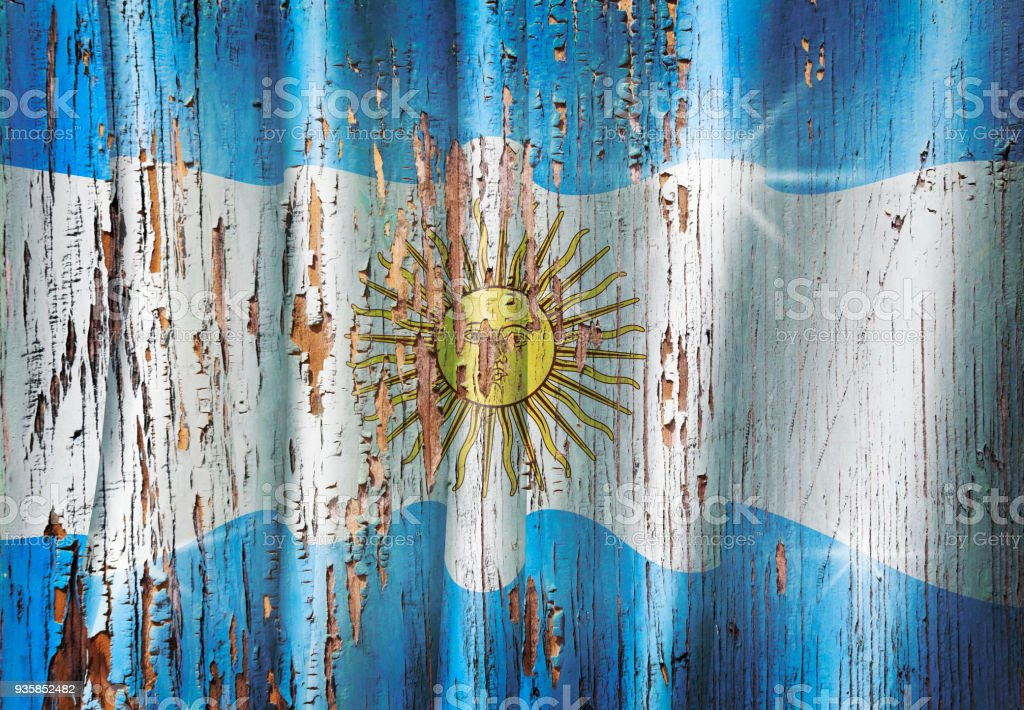 Argentina grunge argentinian flag on wooden old door stock photo