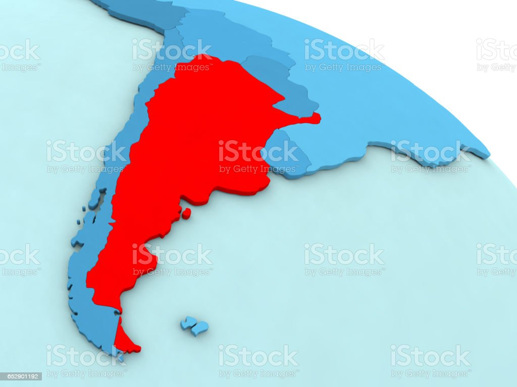 Argentina in red on blue globe stock photo