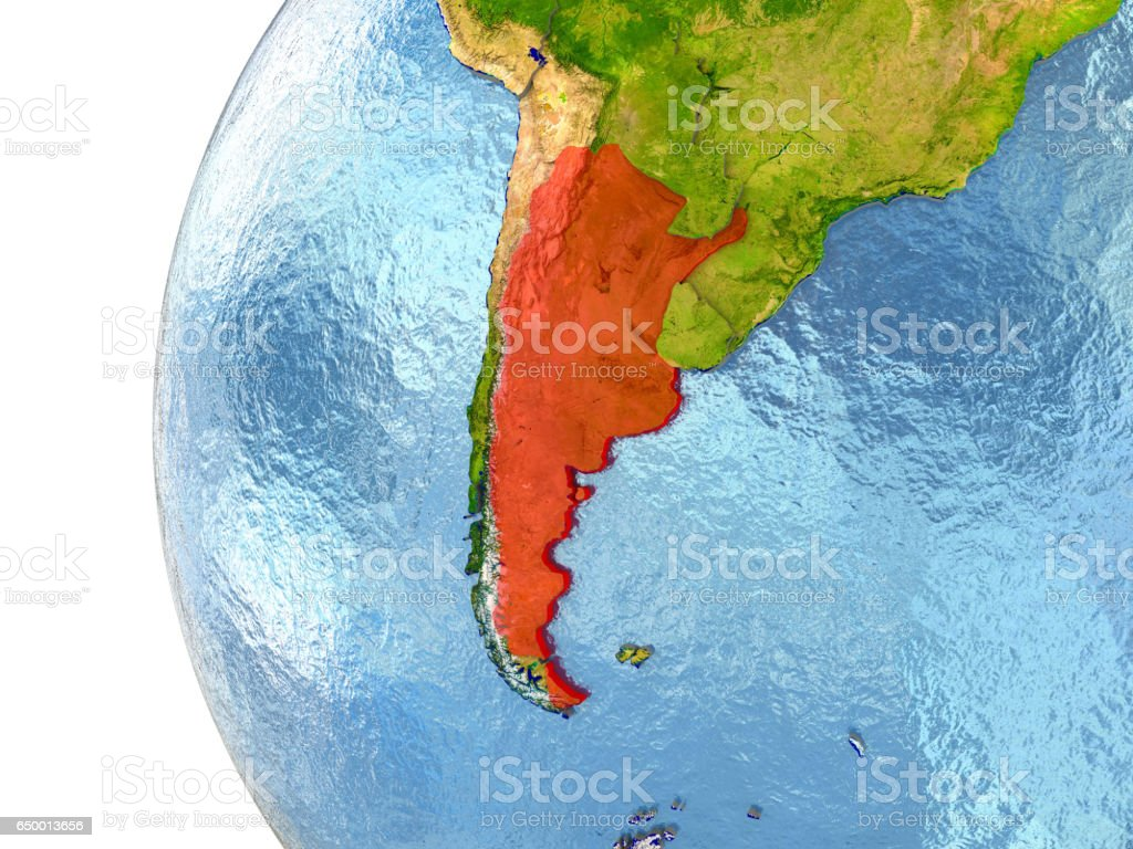 Argentina in red stock photo