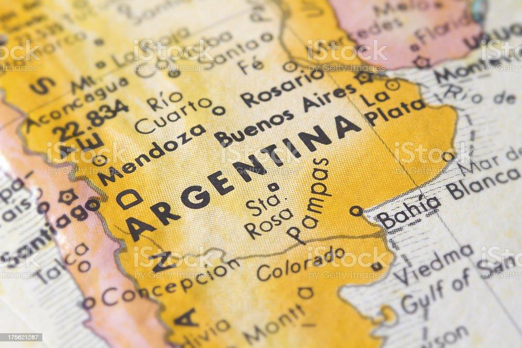 Argentina mapa en primer plano - foto de stock