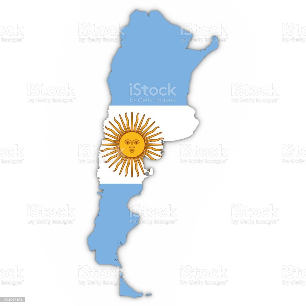 Argentina Map Outline with Argentinian Flag on White with Shadows 3D Illustration stock photo