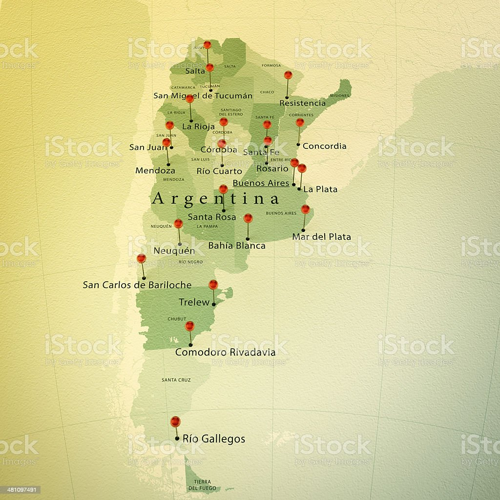Argentina Map Square Cities Straight Pin Vintage stock photo