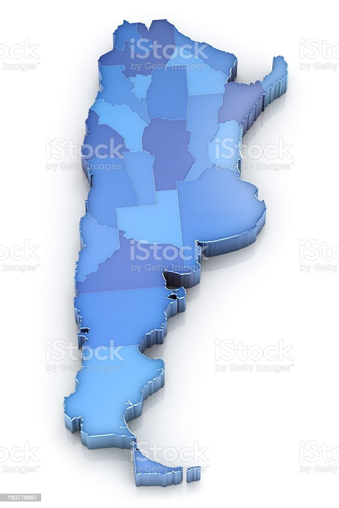 Argentina Map with Provinces royalty-free stock photo