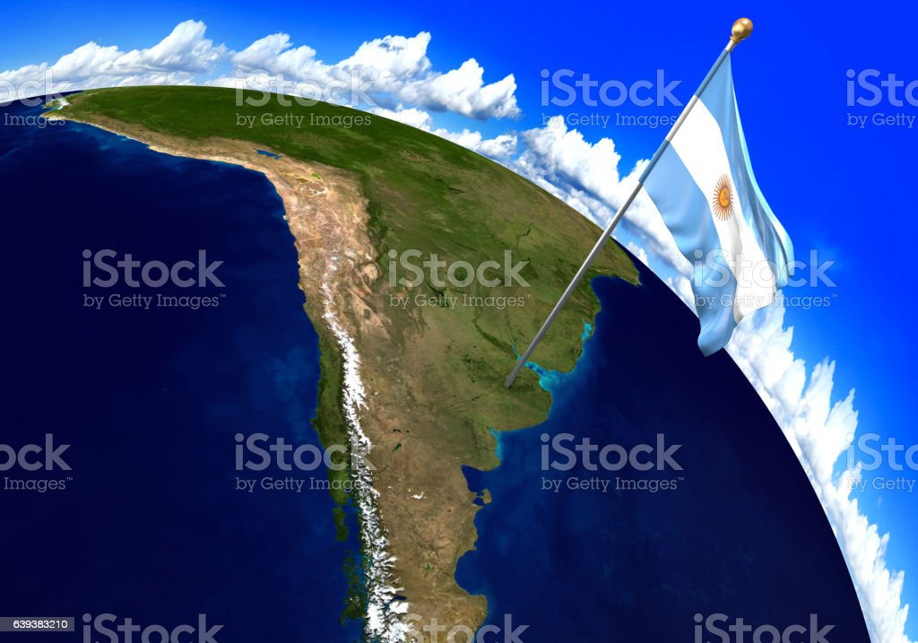 Argentina national flag marking the country location on world map - foto de acervo