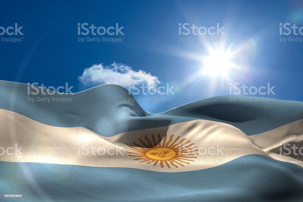 Argentina national flag under sunny sky stock photo