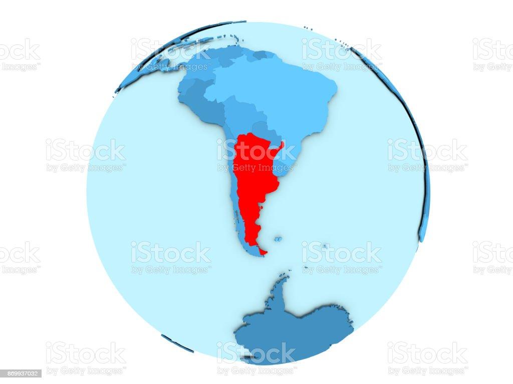 Argentina on blue globe isolated stock photo