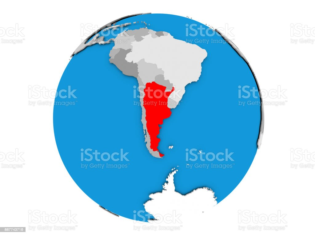 Argentina on globe isolated stock photo