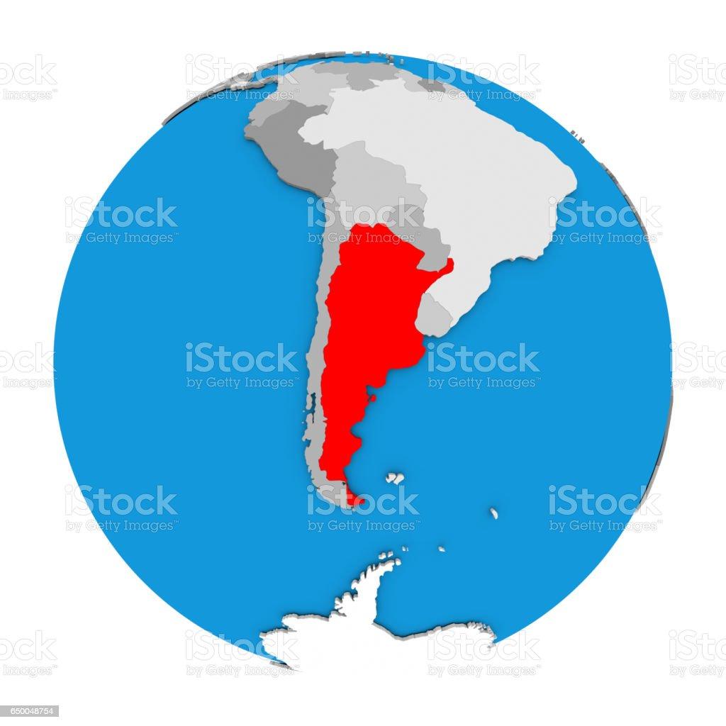 Argentina on globe stock photo