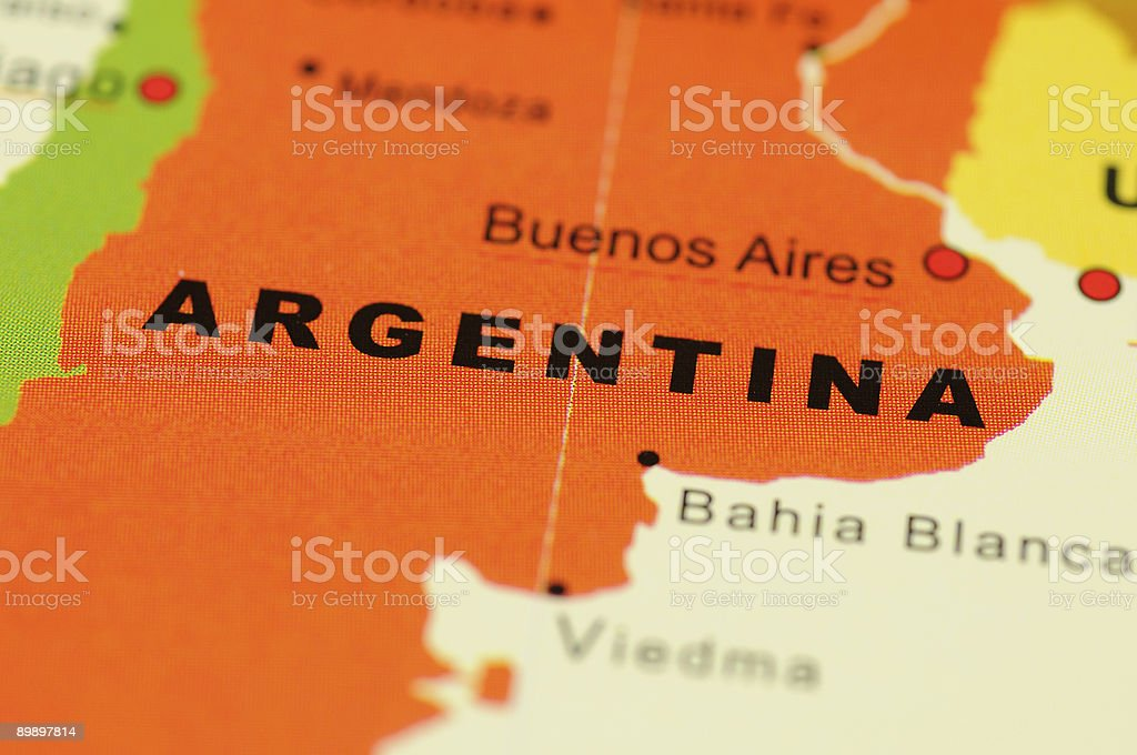 Argentine sur la carte photo libre de droits