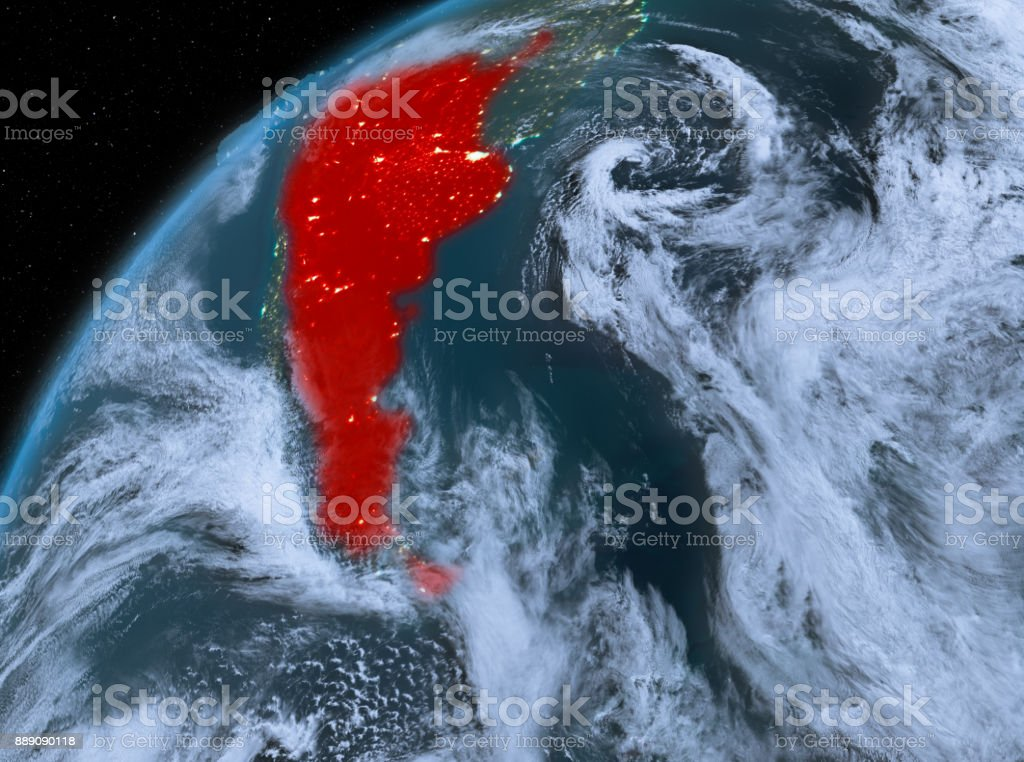 Argentina on planet Earth in space at night stock photo