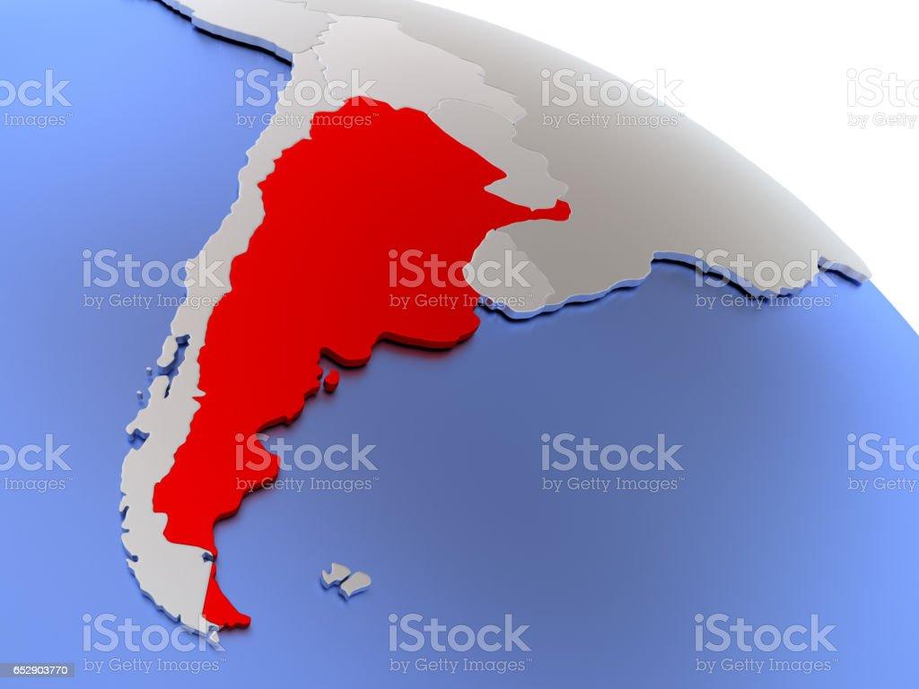 Argentina on world map stock photo
