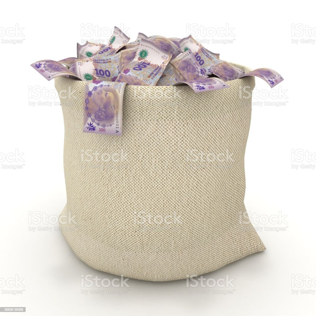 Argentina peso falling money bag stock photo