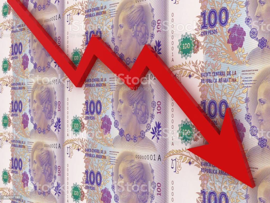 Argentina peso money finance crisis chart graph stock photo